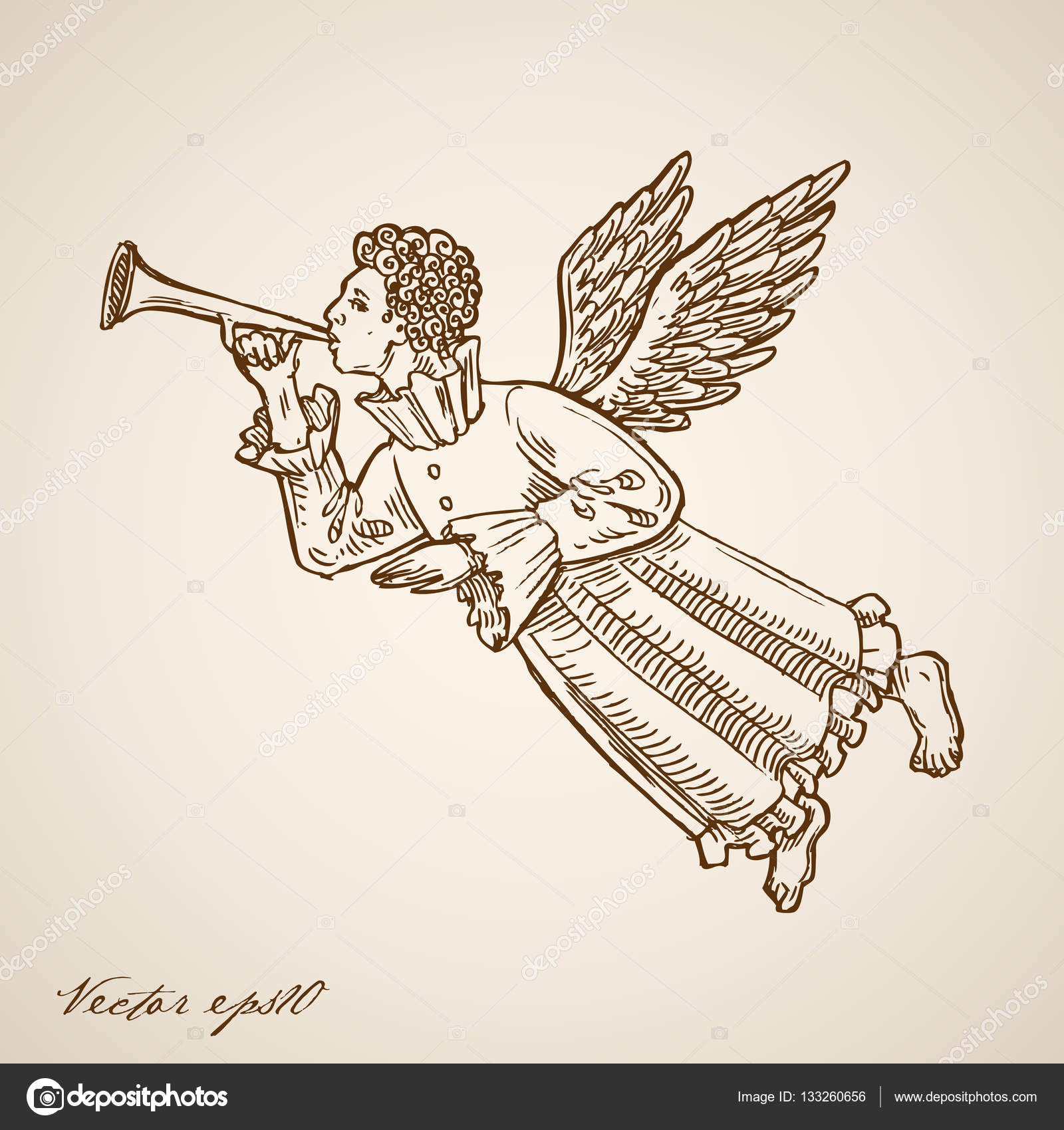 1600x1700 Flying Angel With Trumpet Stock Vector Sentavio