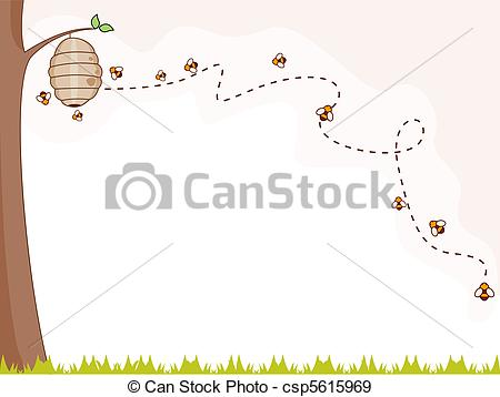 450x358 Bee Background. Illustration Of A Group Of Bees Flying Stock