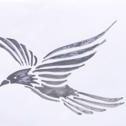 250x250 Flying Bird Drawing, Pencil, Sketch, Colorful, Realistic Art