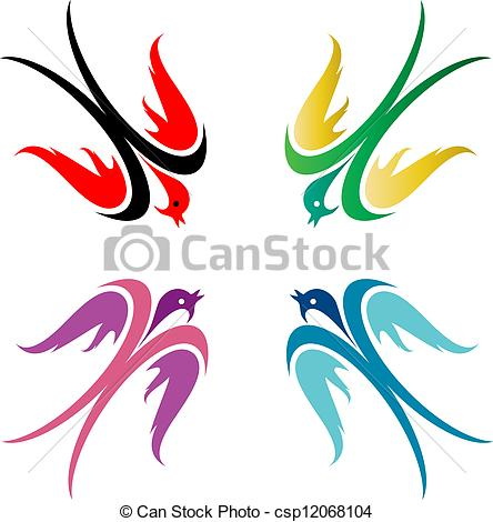 444x470 Four Colorful Birds In Flight On White Background