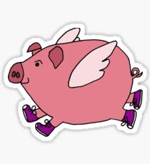 210x230 Flying Pig Drawing Stickers Redbubble