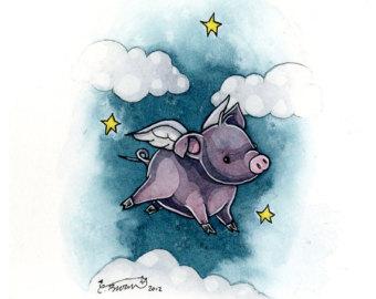 340x270 Winged Pig Print Etsy