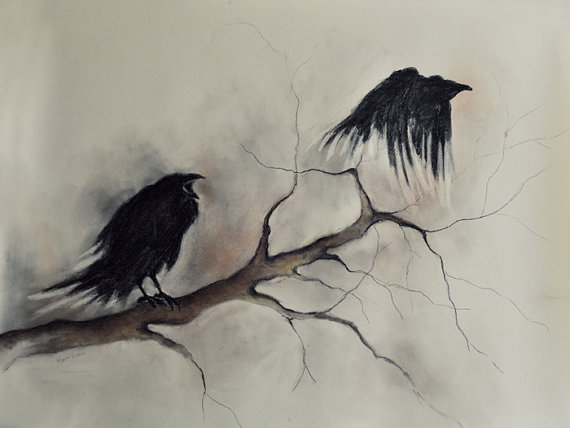 570x428 Flying Original Charcoal Drawing, Halloween Ravens Gothic Drawing