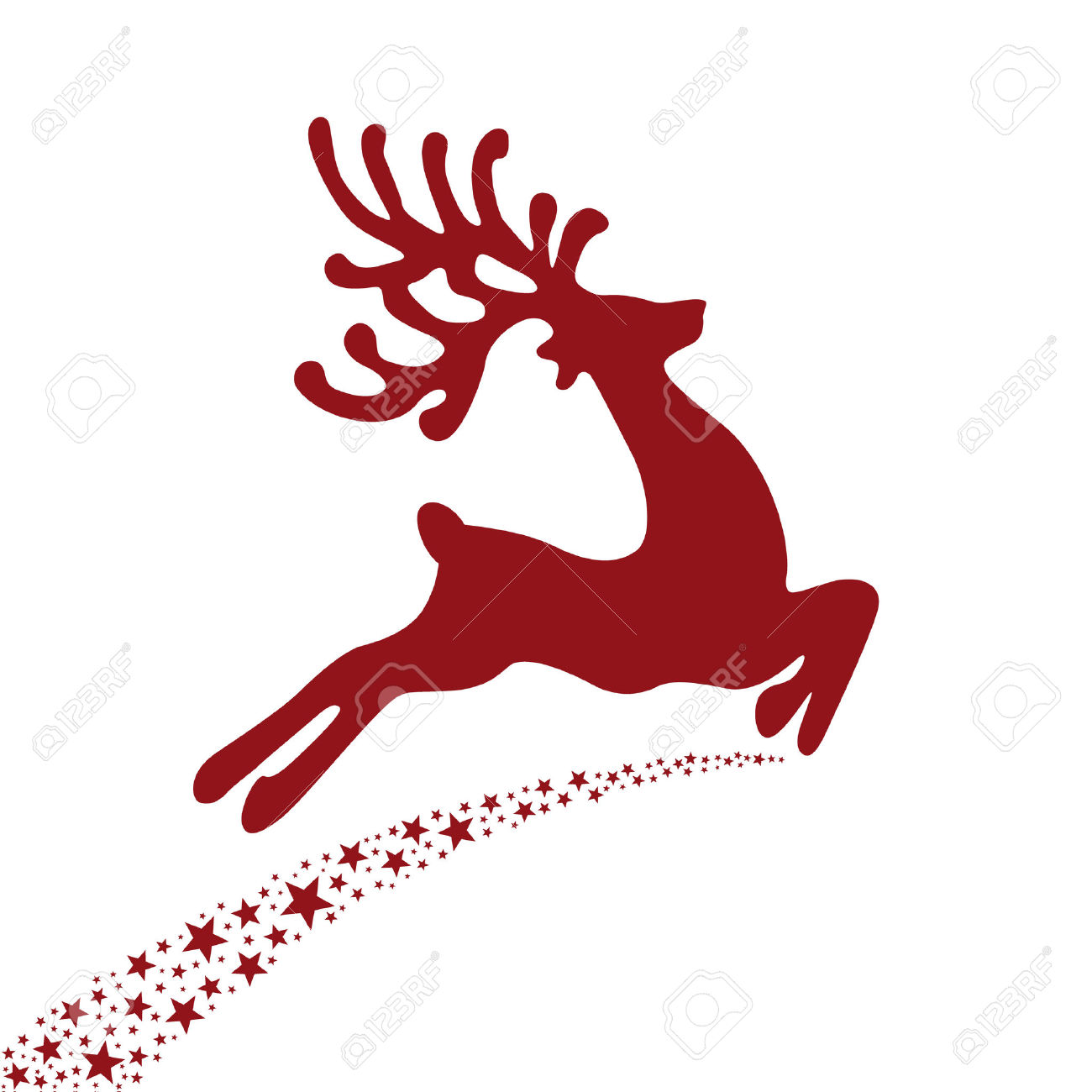 1300x1300 Red Reindeer Flying Stars Royalty Free Cliparts Vectors And
