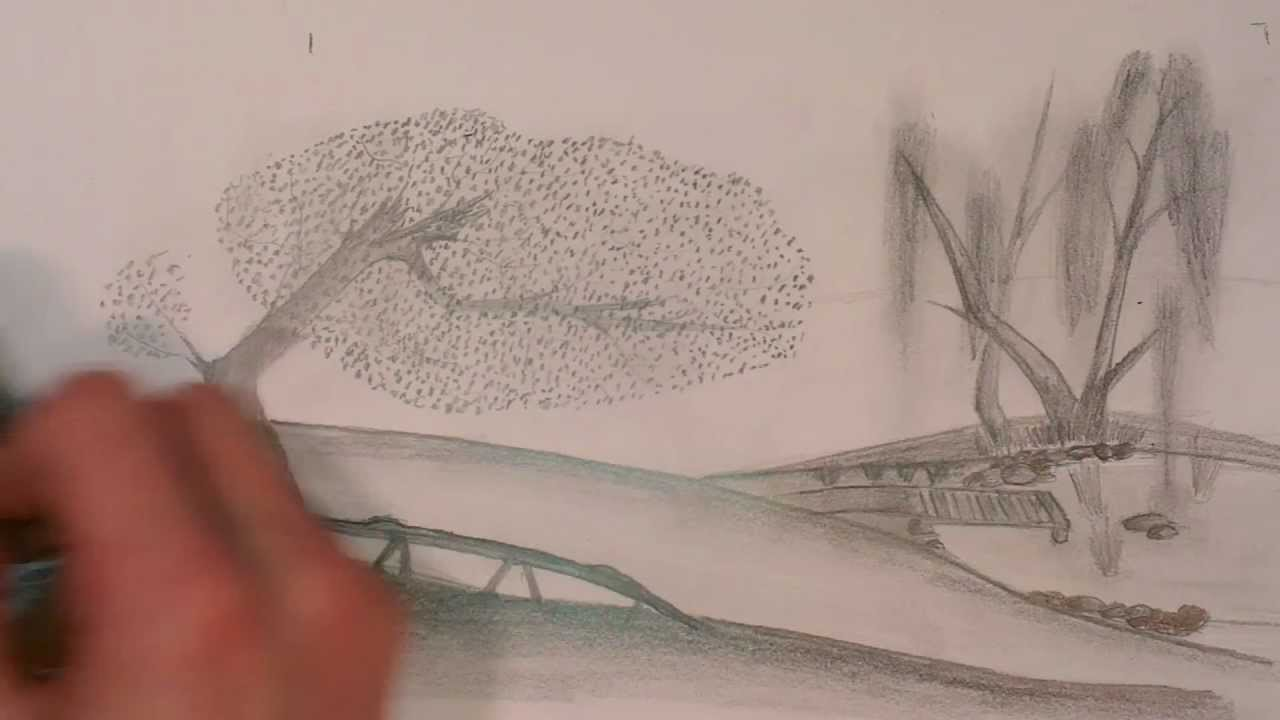 1280x720 Drawing A Foggy Landscape With A Pencil [Hd]