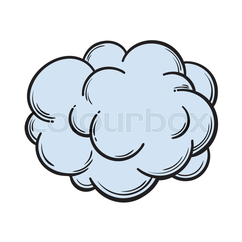 800x800 Hand Drawn Fog, Smoke Cloud, Comic Style Sketch Vector