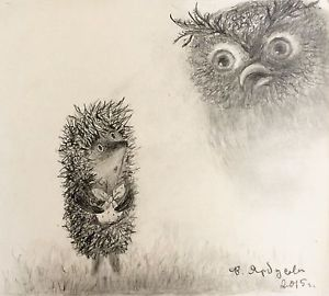 300x270 Hedgehog In The Fog Drawing By Yarbusova Signed By Norstein