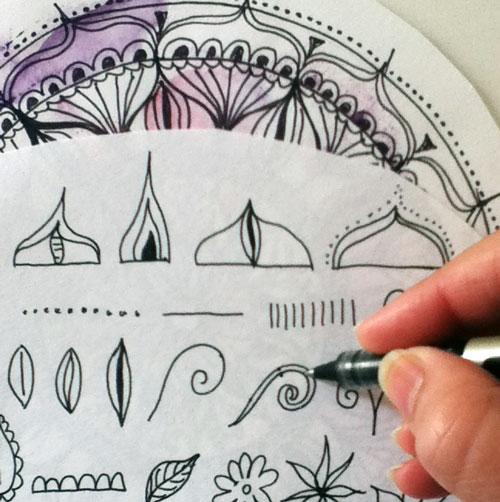 500x502 Draw And Color Expressive Mandala Art (Mandala I) Louise Gale
