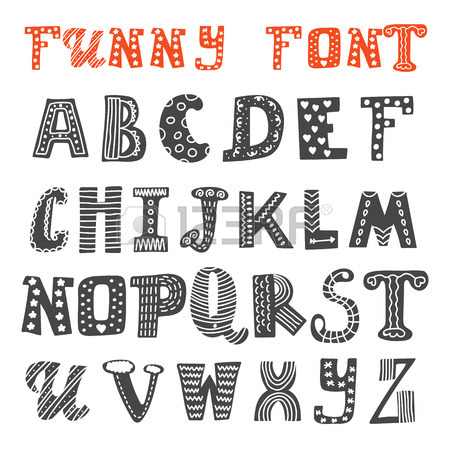 450x450 Hand Drawn Cute Alphabet Comic Cartoon Font Vector Illustration