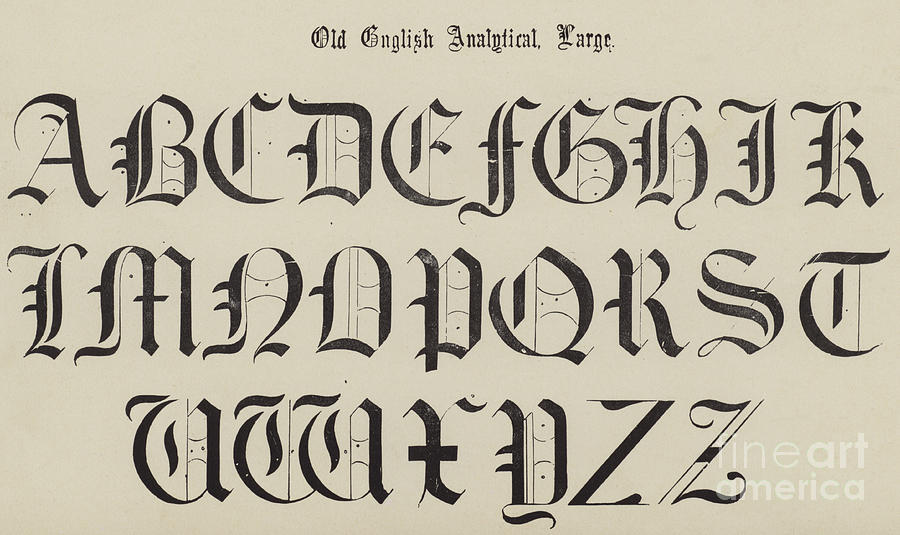 900x535 Old English Font Drawing By English School