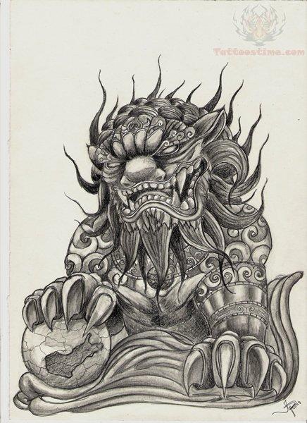 436x600 Foo Dog Drawing Tattoo