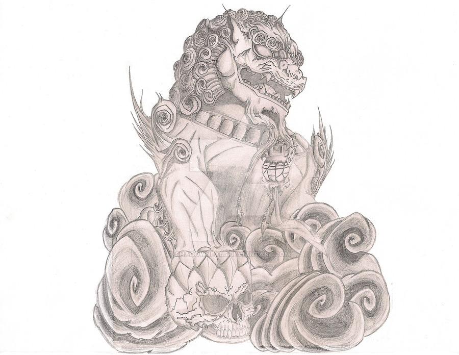 900x696 Foo Dog Tattoo By Shadownexu5