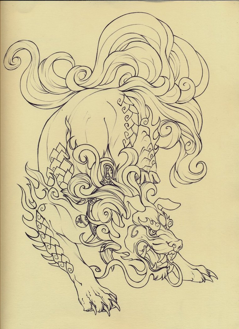 761x1049 Foo Dog Lineart By Quinneys