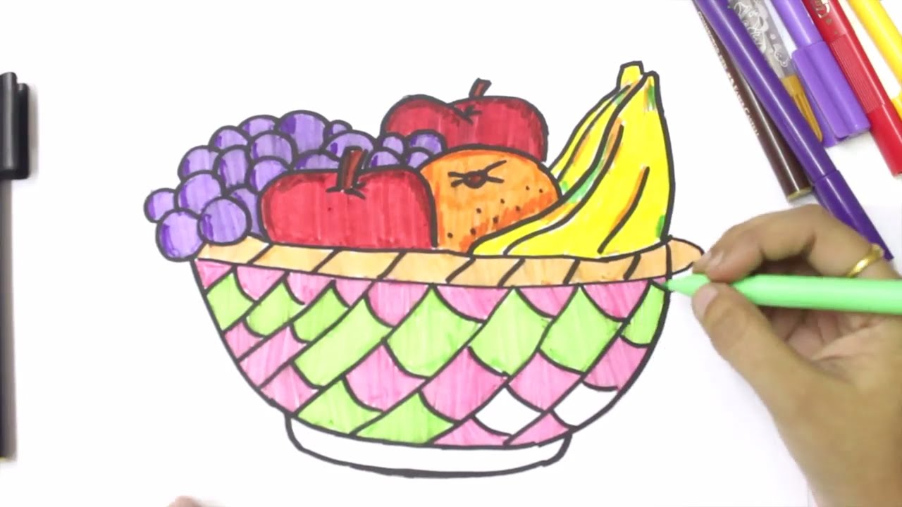 1280x720 How To Draw Fruits And Vegetables And Coloring Dresses For Kids