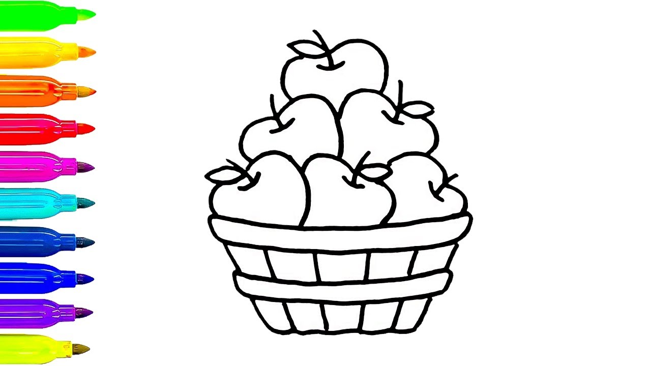 1280x720 How To Draw Apple Basket Coloring Pages Fruit Kids Learning