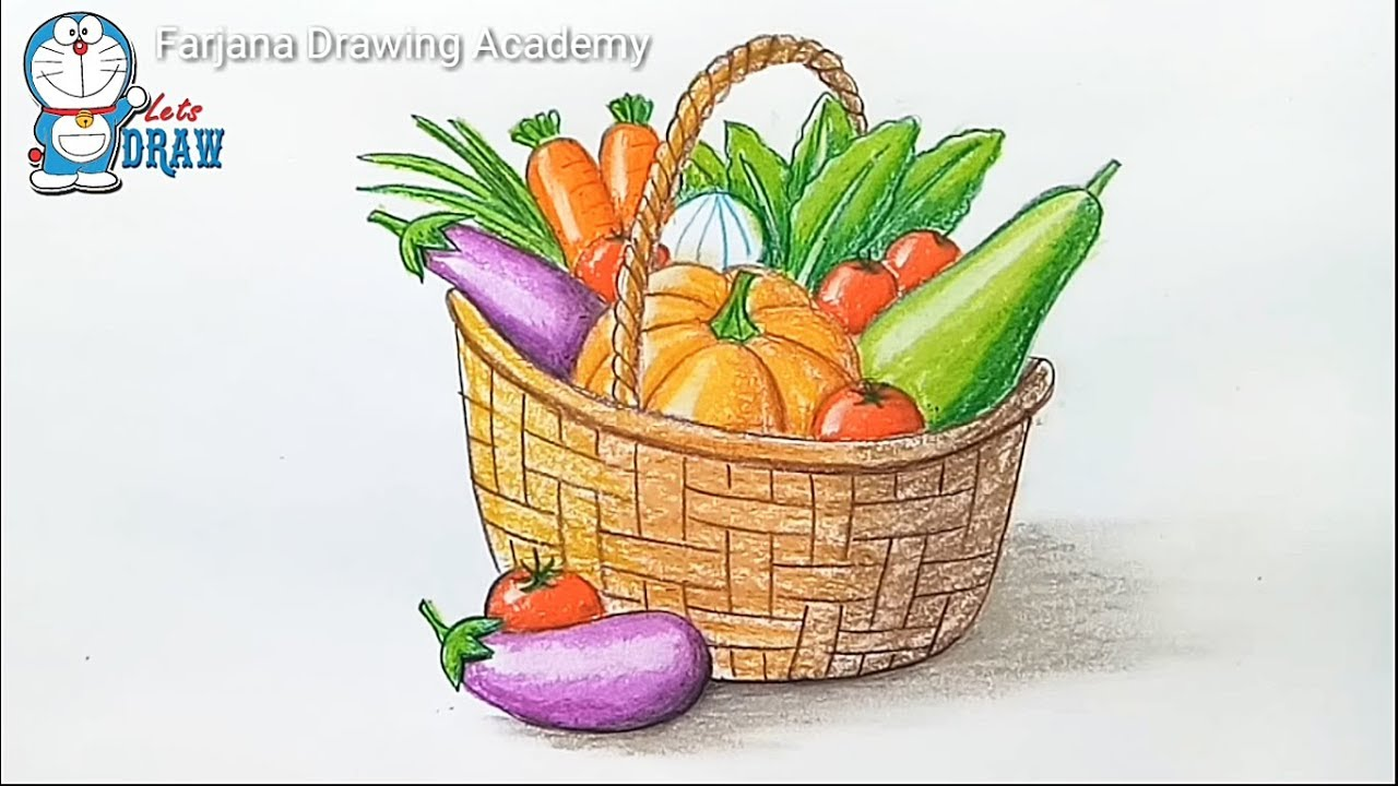 1280x720 How To Draw Vegetables Basket Step By Step