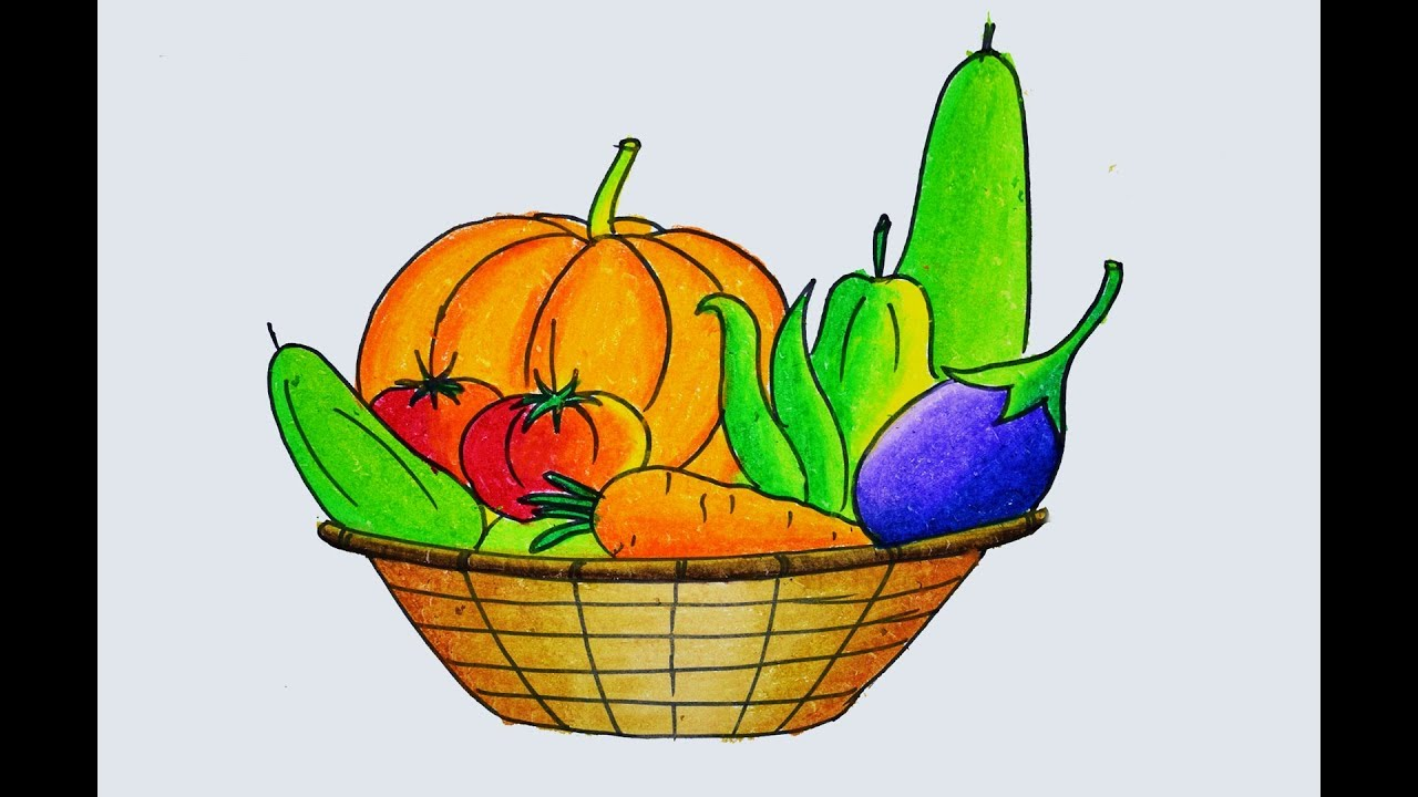 1280x720 How To Draw A Vegetables Basket Easy And Simple, Winter Vegetables