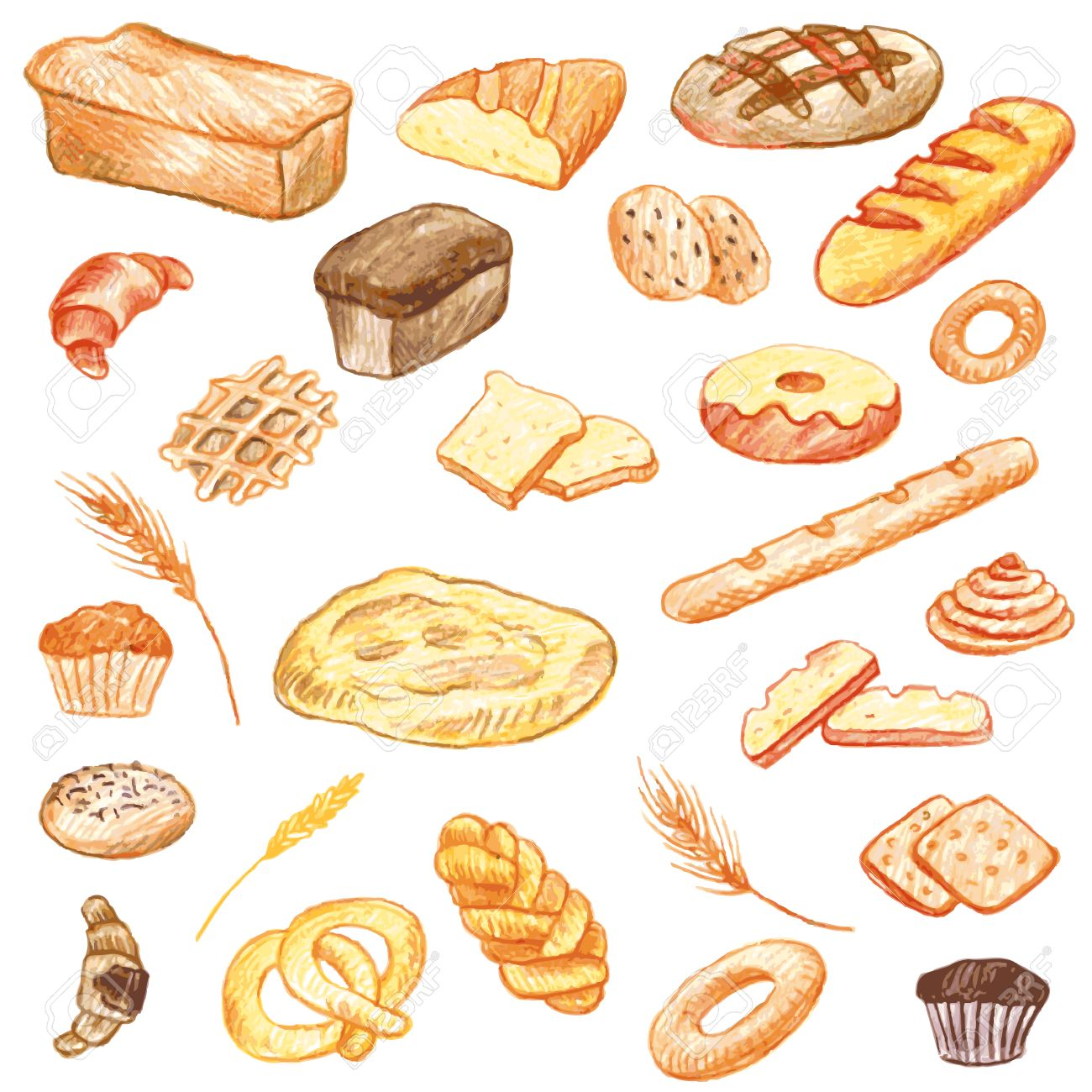 1300x1300 Vector Set Of Food Drawing By Color Pencil, Doodle Bread