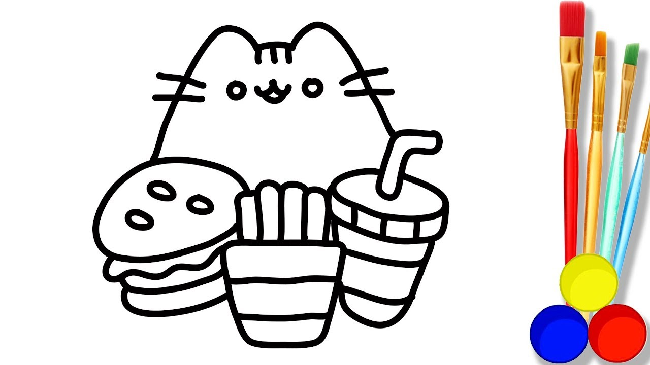 1280x720 Baby Cat With Fast Food Drawing And Coloring For Kids How