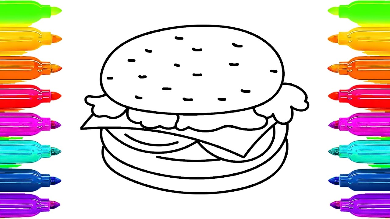 1280x720 How To Draw Cheeseburger Fast Food Learning Coloring Pages
