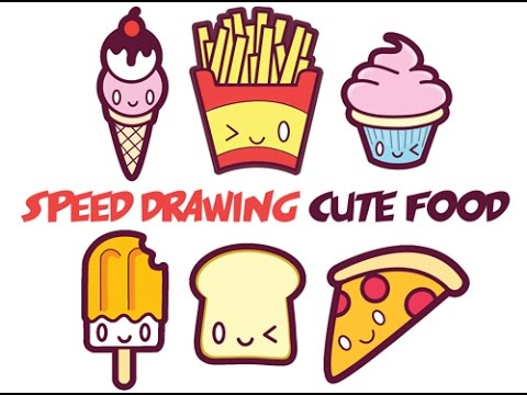 480x360 Speed Drawing How To Draw Cute Food With Faces Easy Step By Step