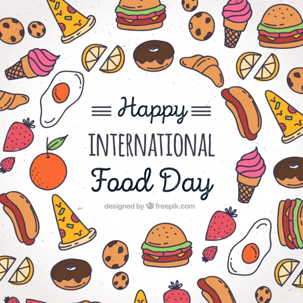 626x626 Background With Colorful Drawings For World Food Day Vector Free