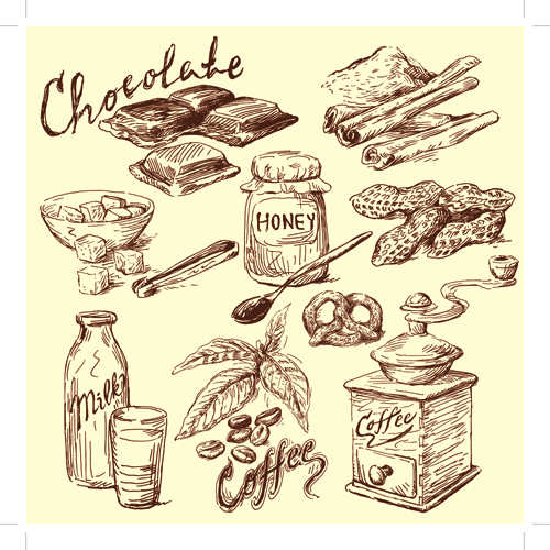 500x500 Drawing Foods Retro Illustrations Vector 05
