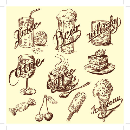 500x500 Drawing Foods Retro Illustrations Vector 07