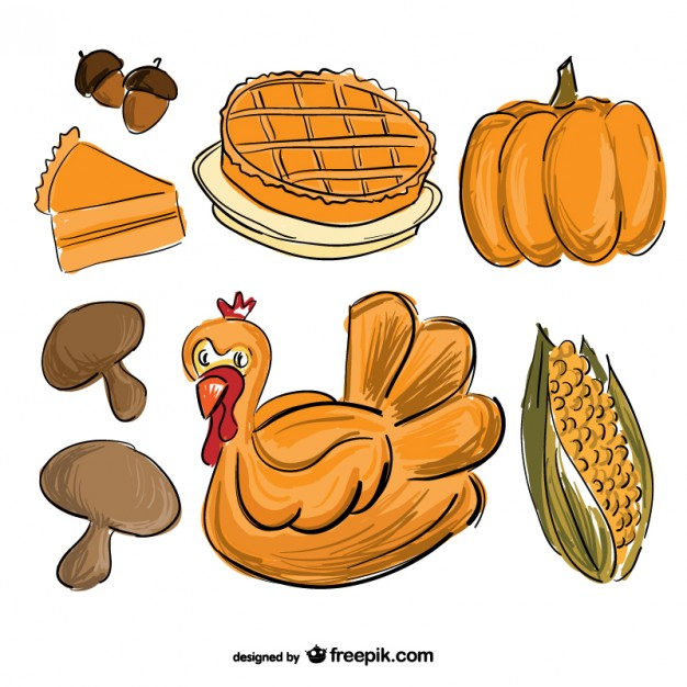 626x626 Thanksgiving Food Drawing Vector Free Download