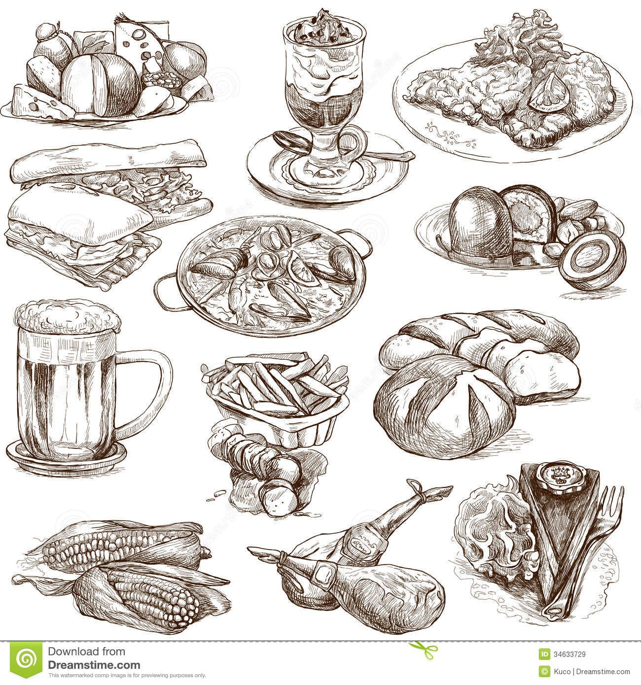 1300x1390 Food Drinks Around World Set No White Set Collection Hand Drawn