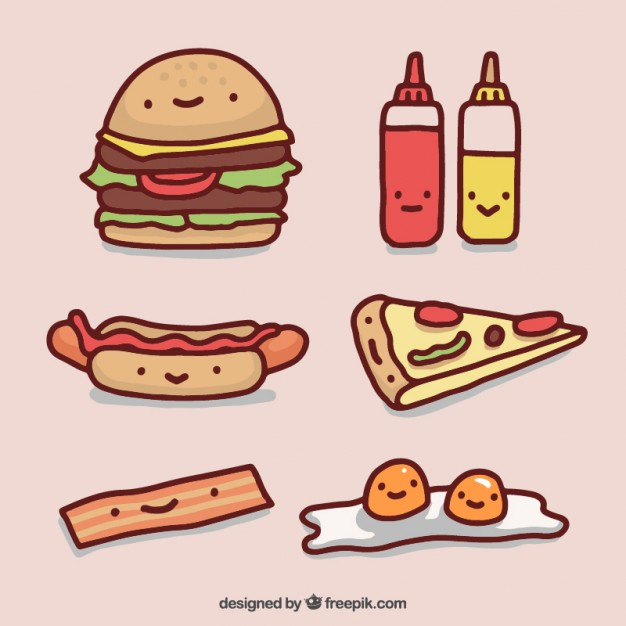 626x626 Fast Food Drawings Collection Vector Premium Download