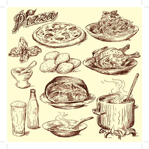500x500 Food Drawing Vector Free Vector Download (93,227 Free Vector)