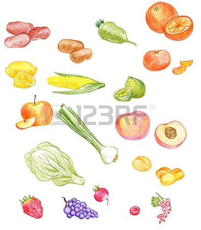 394x450 Vector Set Of Food Drawing By Color Pencil, Doodle Bread
