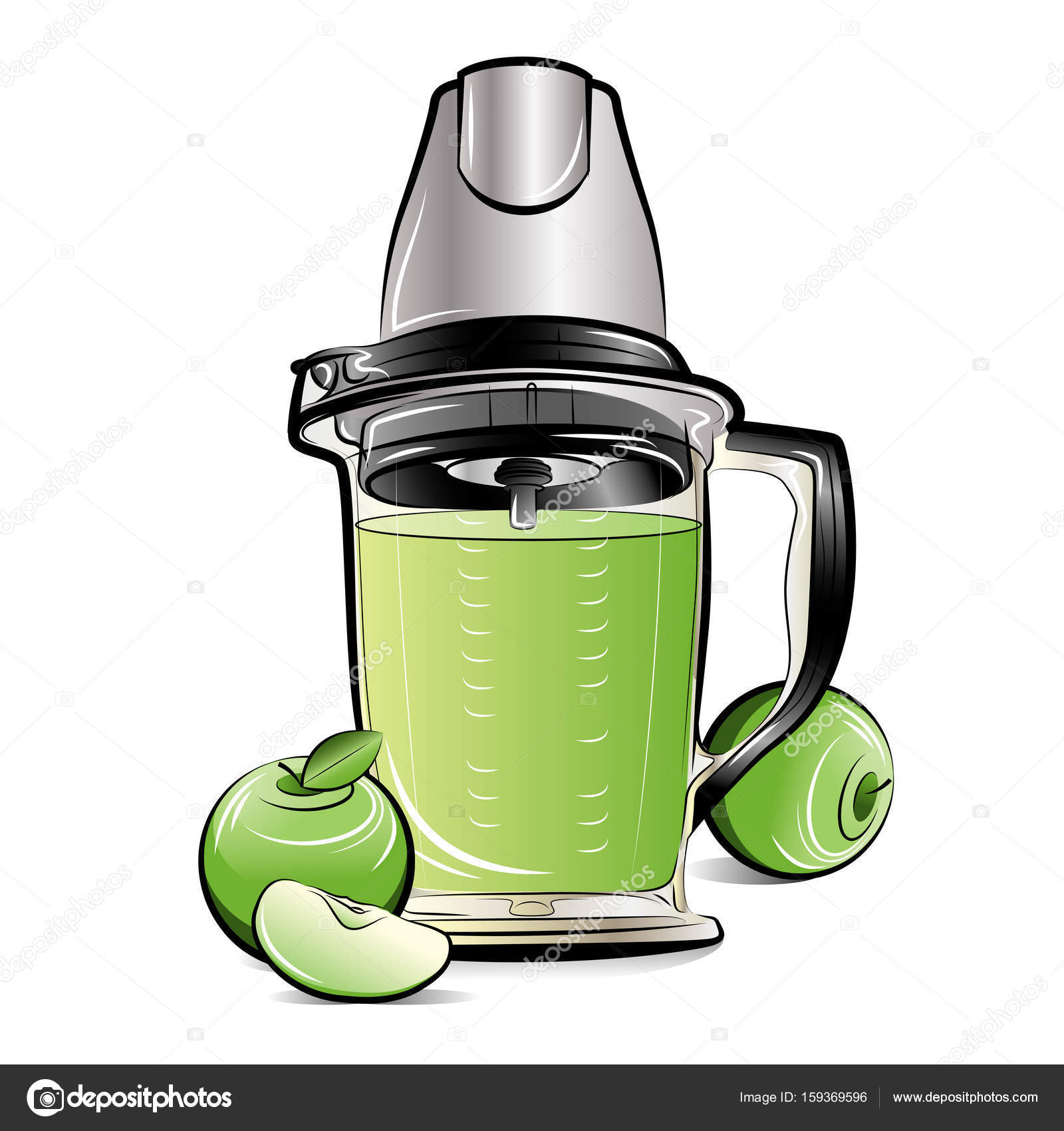 1600x1700 Drawing Color Kitchen Blender With Apple Juice Stock Vector