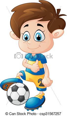 273x470 Vector Illustration Of Cartoon Boy Playing Football Clipart Vector