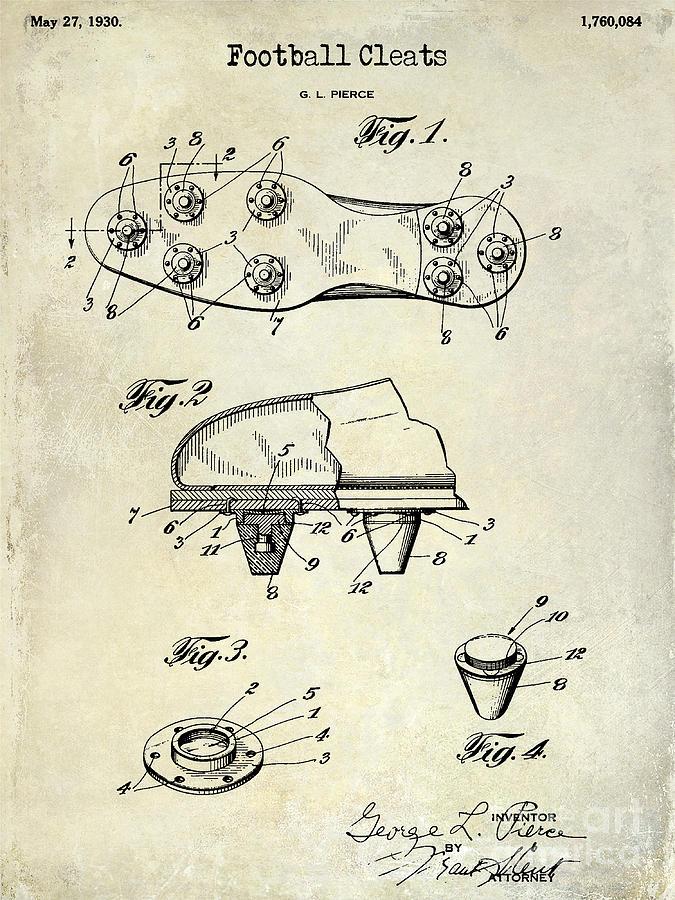 675x900 1930 Football Cleats Patent Drawing Photograph By Jon Neidert