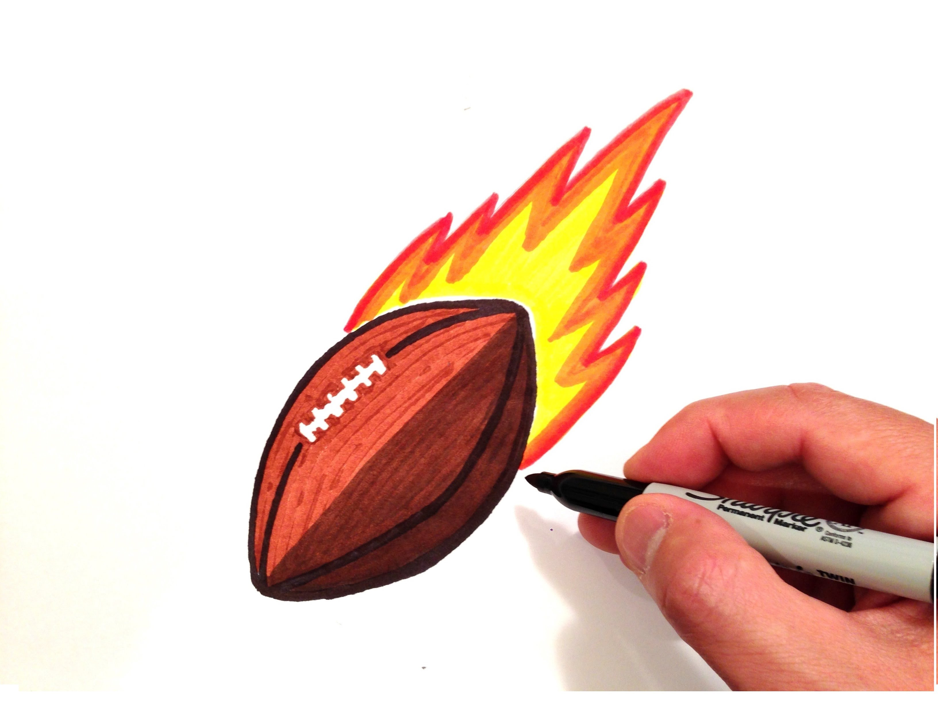 3264x2492 How To Draw A Football With Flames