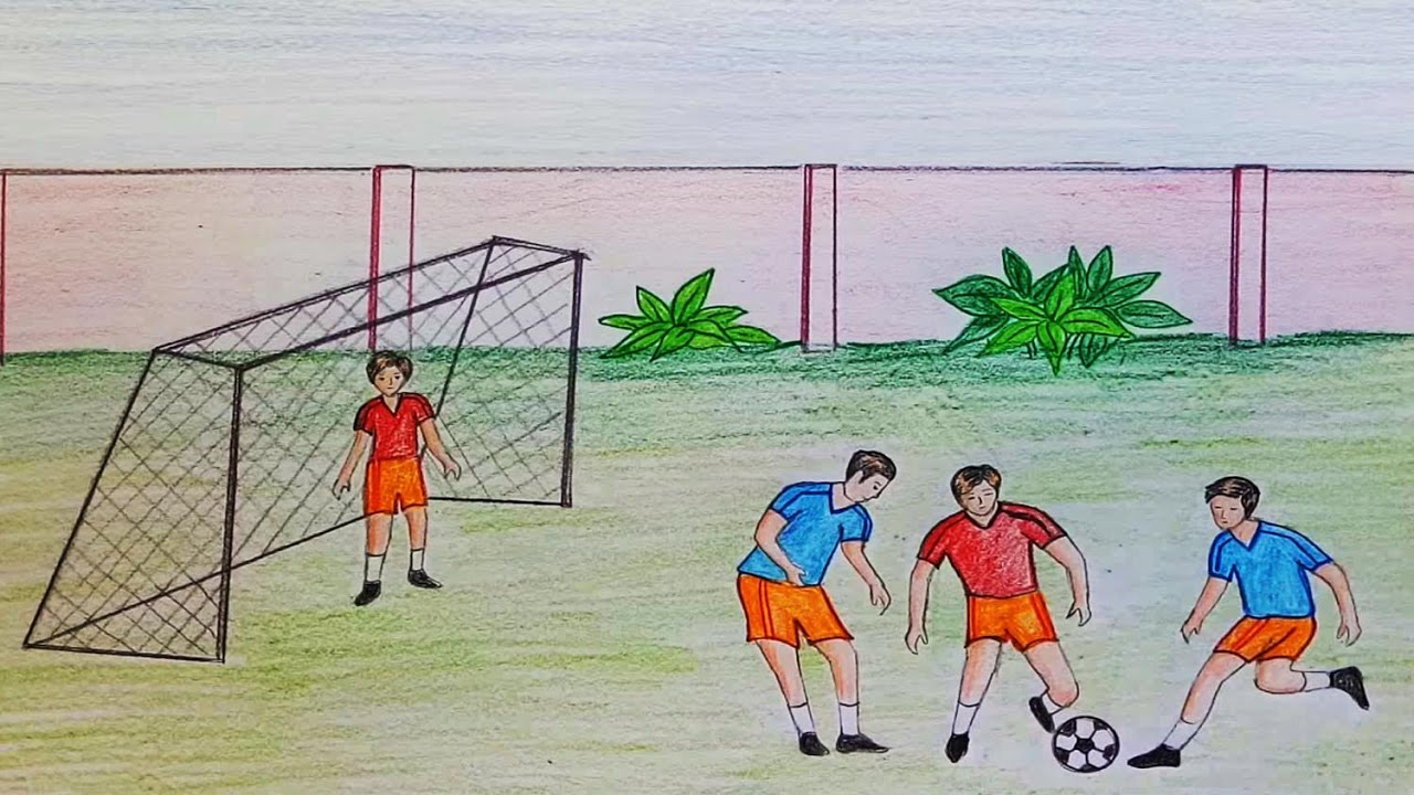 1280x720 How To Draw Scenery Of Playing Football Step By Step