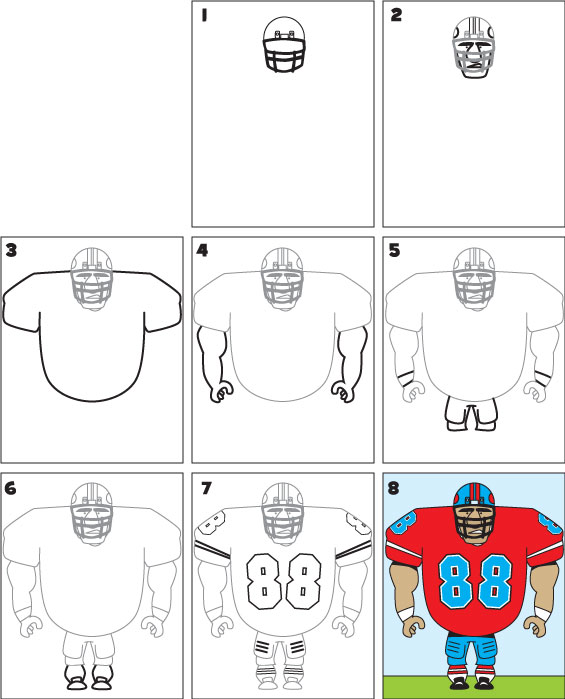 565x699 How To Draw A Football Player Drawings Football