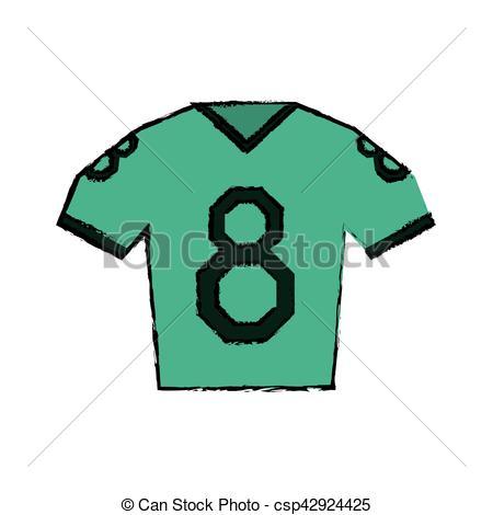 450x470 Drawing Green Jersey American Football Tshirt Uniform Vector