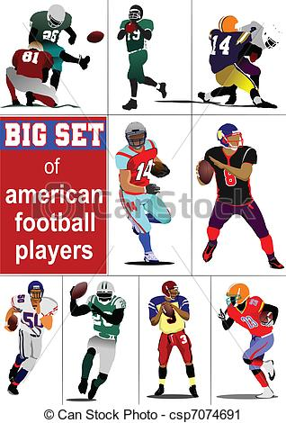 318x470 Big Set Of American Football Player S Silhouettes In Action