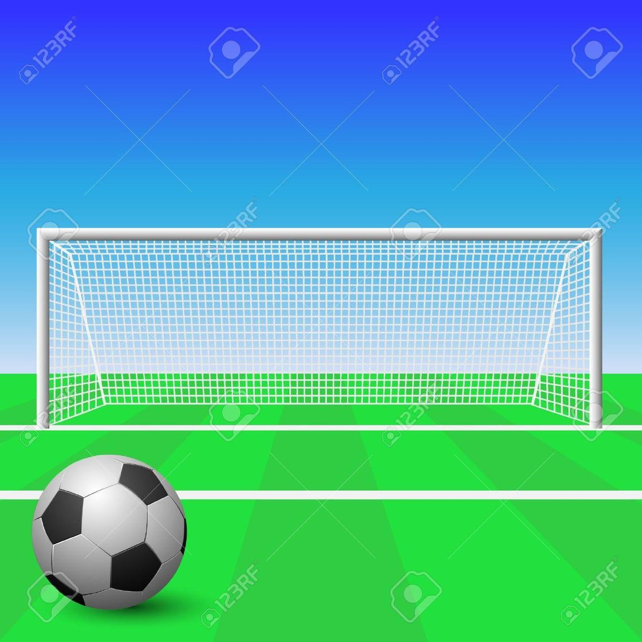 1300x1300 Best Free Soccer Goal With Ball Stock Vector Football Drawing