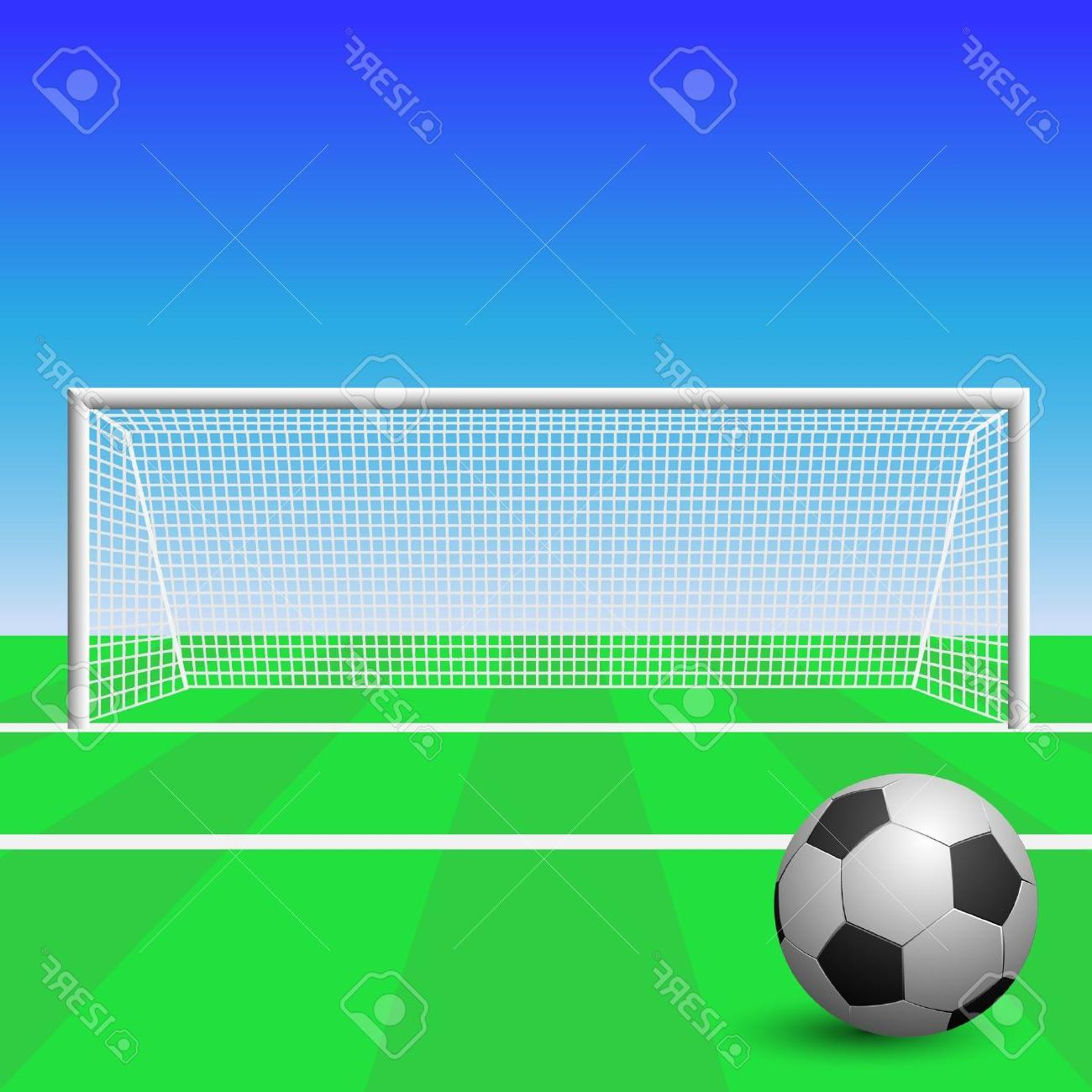 1300x1300 Soccer Goal Drawing Best Free Soccer Goal With Ball Stock Vector