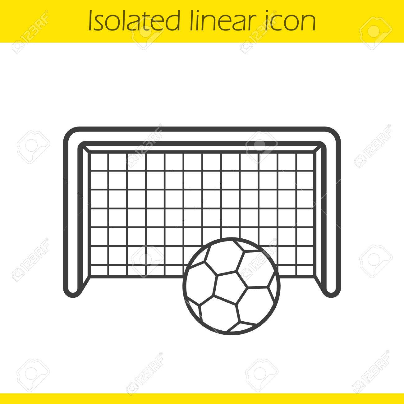 1300x1300 Soccer Goal Linear Icon. Thin Line Illustration. Football Gates