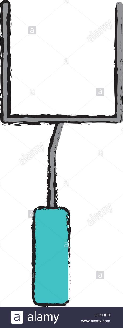 524x1390 Drawing American Football Goal Post Stock Vector Art
