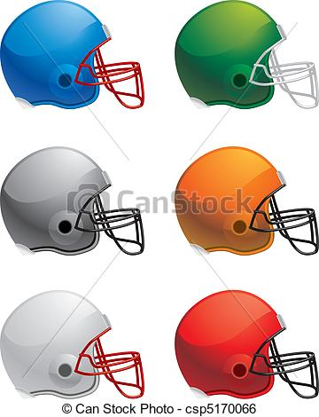 360x470 A Variety Of Different Colored Football Helmets. Clip Art Vector