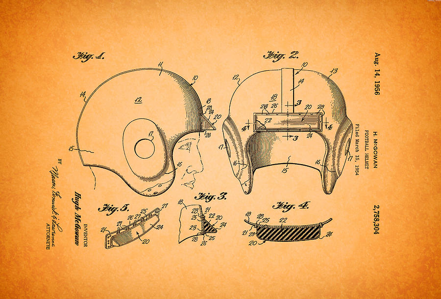 900x612 Vintage Football Helmet Patent 1956 Drawing By Mountain Dreams