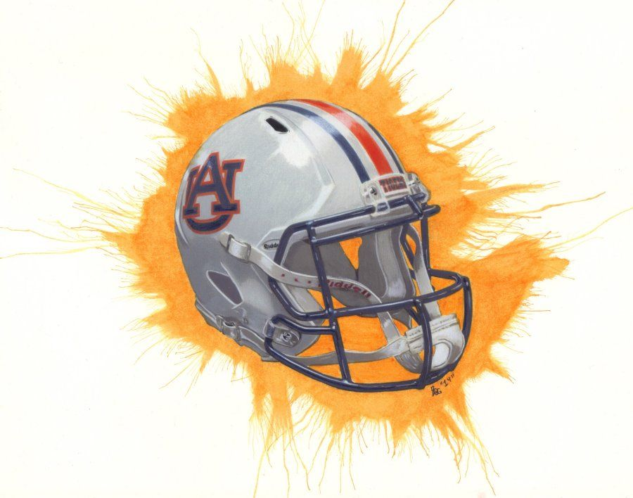 900x708 Commissioned Drawing Auburn Football Helmet . Colored Pencil
