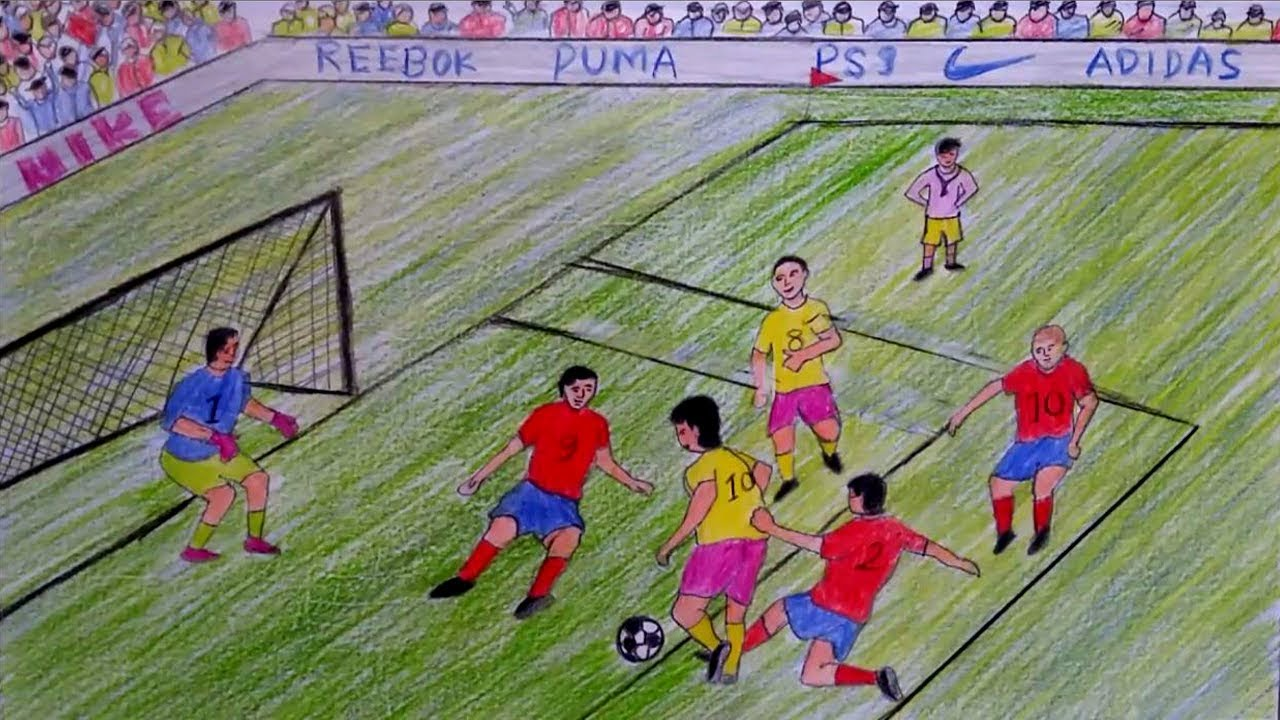 1280x720 How To Draw A Scenery Of Play Football Step By Step