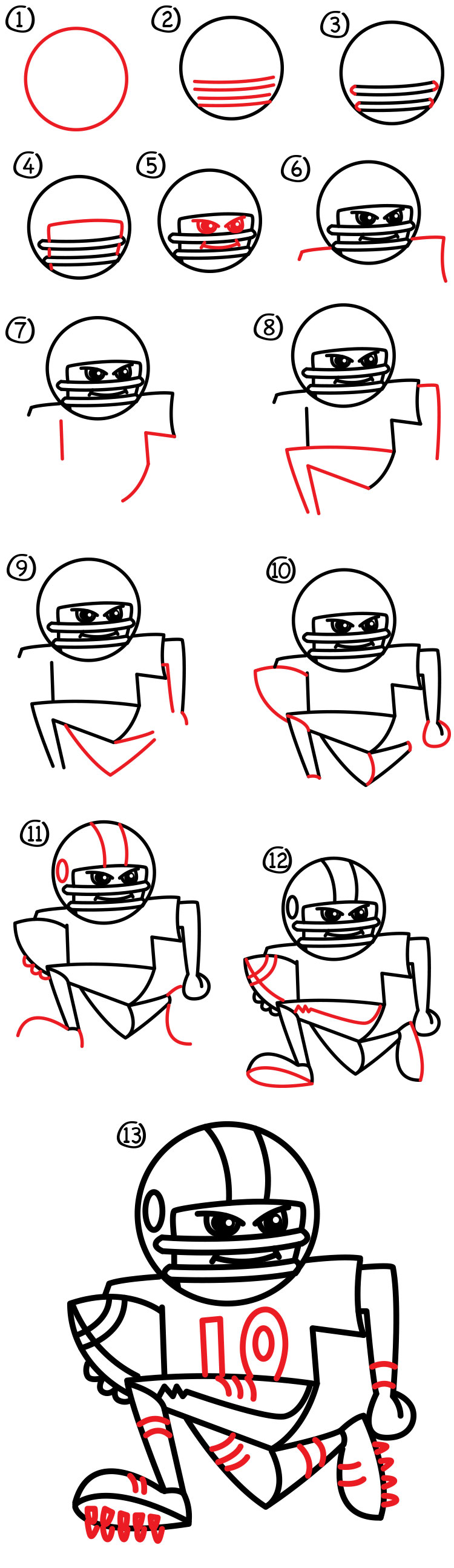 750x2590 How To Draw A Football Player